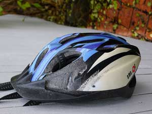 Damaged bicycle helmet from a car crash