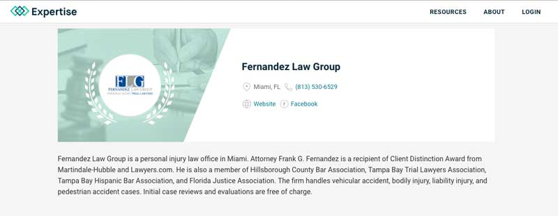 2016 Expertise award for Fernandez Law Group - screen shot