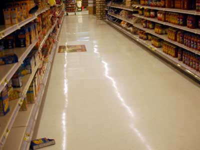 grocery product on floor in aisle