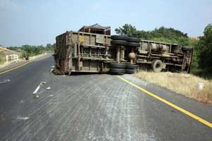 Overturned truck on highway