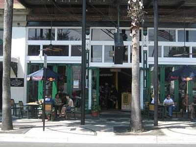 Sidewalk of Pedestrian Restaurant Patrons in Tampa Ybor City
